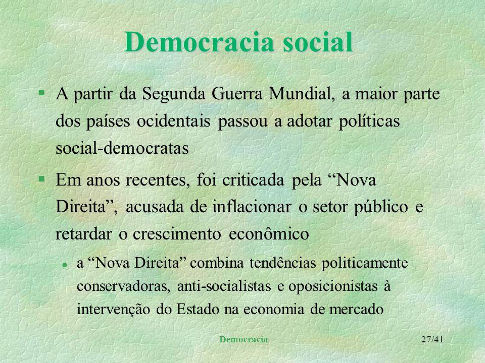 Democracia 26/41 Democracia social §Com o tempo, os partidos social-democratas: l abandonaram posições como a que defendiam a propriedade coletiva da