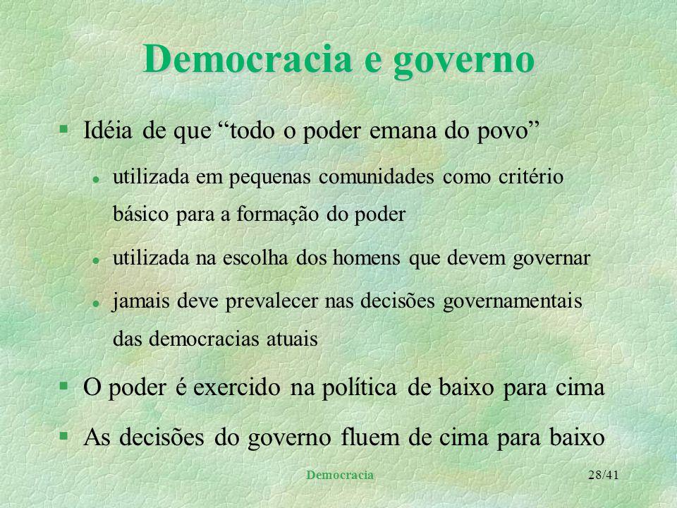 Democracia 27/41 Democracia social §A partir da Segunda Guerra Mundial, a maior parte dos países ocidentais passou a adotar políticas social-democrata