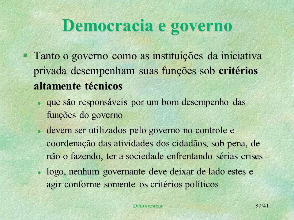 Democracia 29/41 Democracia e governo §A autoridade l somente poder ser concebida no âmbito da técnica da organização e administração, pública e priva