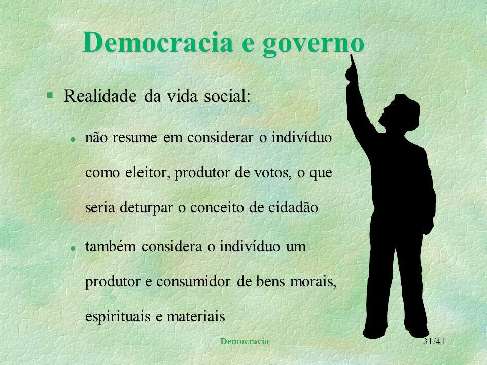 Democracia 30/41 Democracia e governo §Tanto o governo como as instituições da iniciativa privada desempenham suas funções sob critérios altamente téc