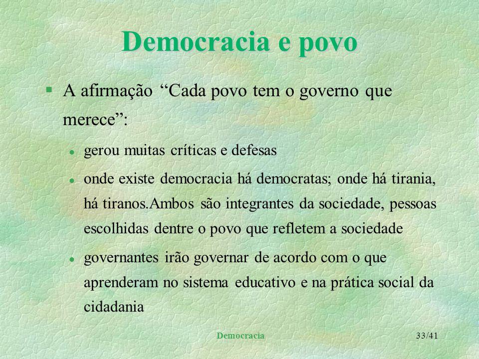 Democracia 32/41 Democracia e governo §Quando os governantes assumem as funções governamentais da liberdade e igualdade, devem: l utilizar processos c
