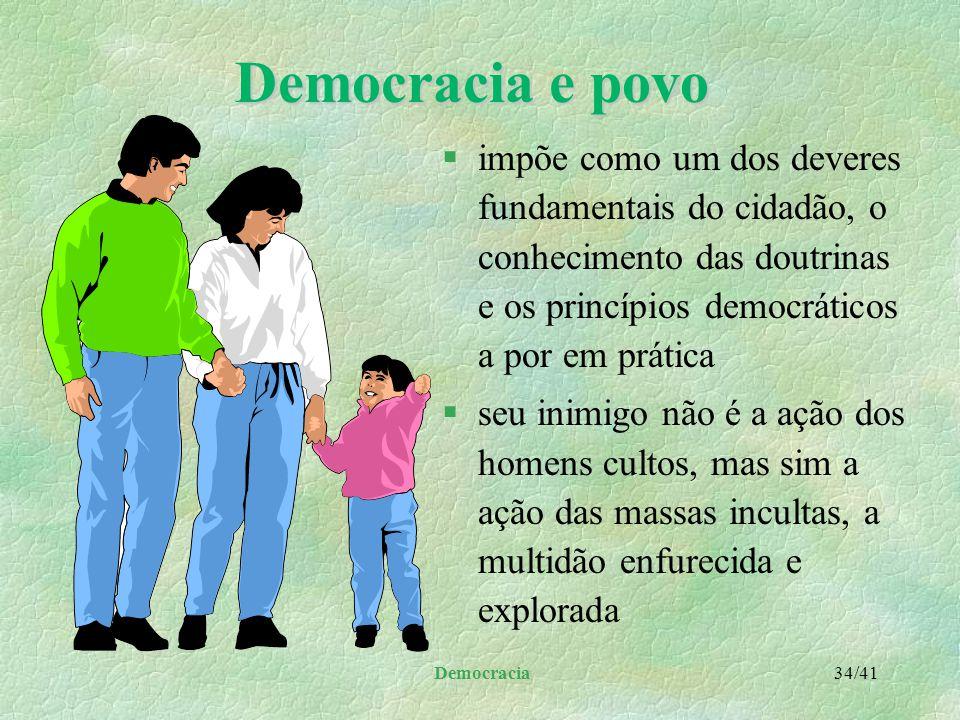 """Democracia 33/41 Democracia e povo §A afirmação """"Cada povo tem o governo que merece"""": l gerou muitas críticas e defesas l onde existe democracia há de"""