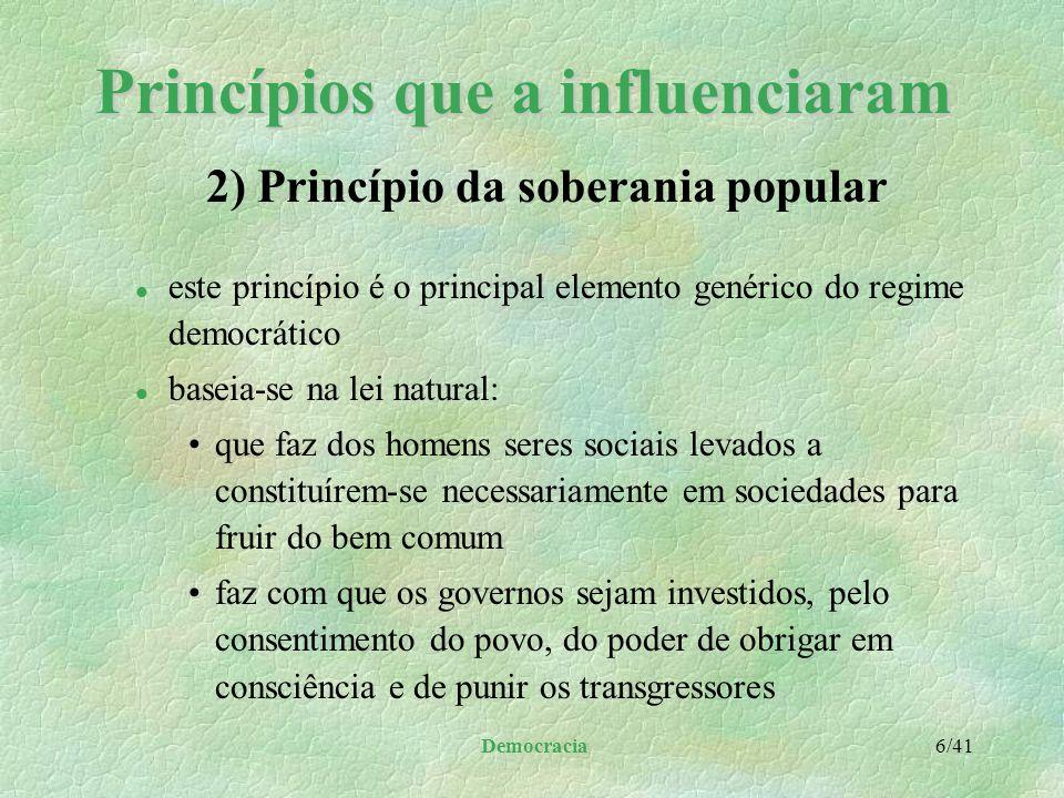 Democracia 5/41 Princípios que a influenciaram l ninguém pode apoderar-se do governo em virtude da própria força l o povo, a quem compete o bem comum,