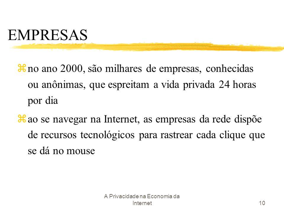 A Privacidade na Economia da Internet10 EMPRESAS zno ano 2000, são milhares de empresas, conhecidas ou anônimas, que espreitam a vida privada 24 horas