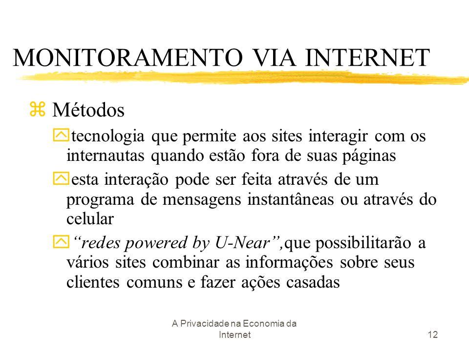 A Privacidade na Economia da Internet12 z Métodos ytecnologia que permite aos sites interagir com os internautas quando estão fora de suas páginas yes