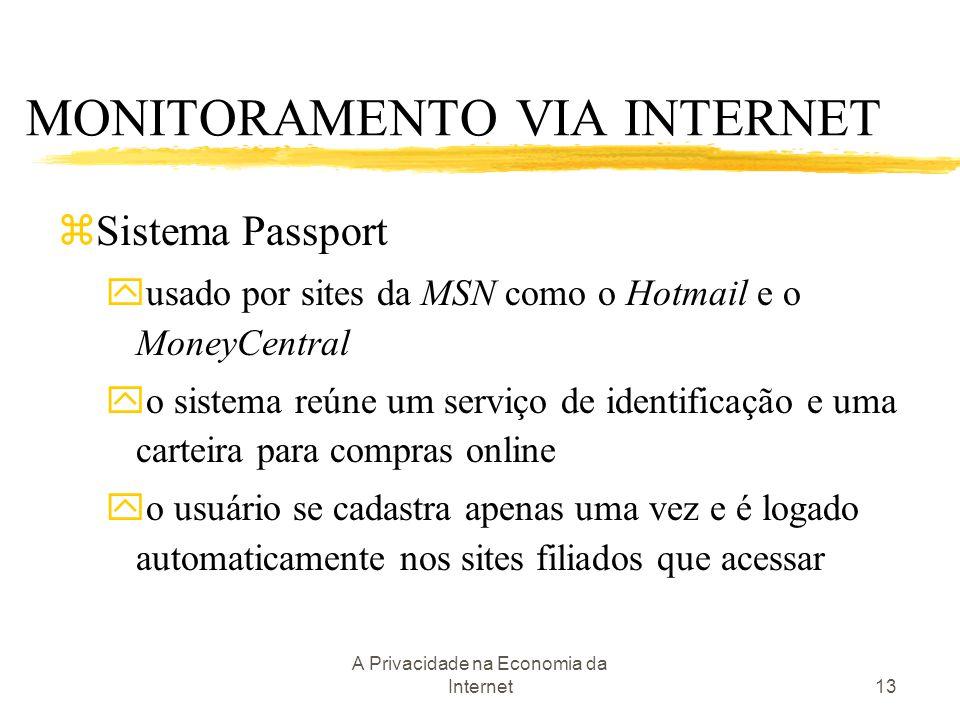 A Privacidade na Economia da Internet13 zSistema Passport yusado por sites da MSN como o Hotmail e o MoneyCentral yo sistema reúne um serviço de ident