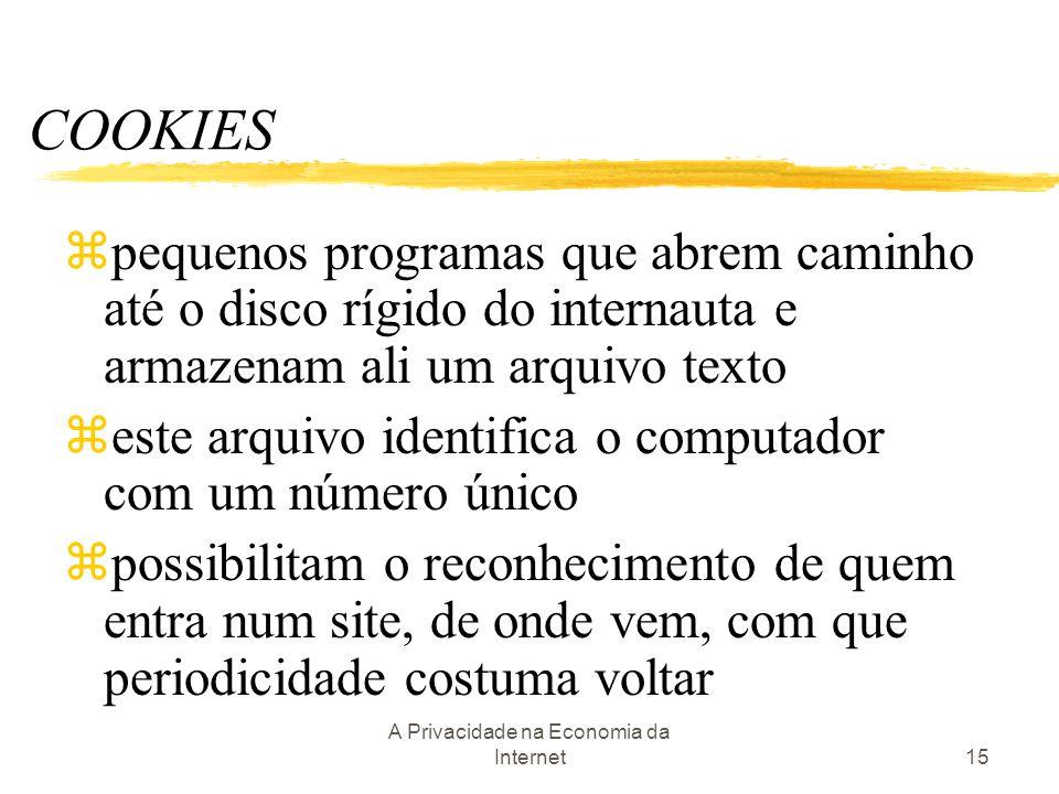 A Privacidade na Economia da Internet15 COOKIES zpequenos programas que abrem caminho até o disco rígido do internauta e armazenam ali um arquivo text