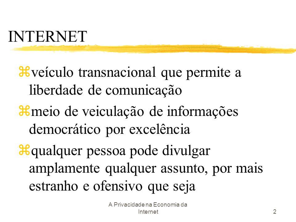 A Privacidade na Economia da Internet2 INTERNET zveículo transnacional que permite a liberdade de comunicação zmeio de veiculação de informações democ