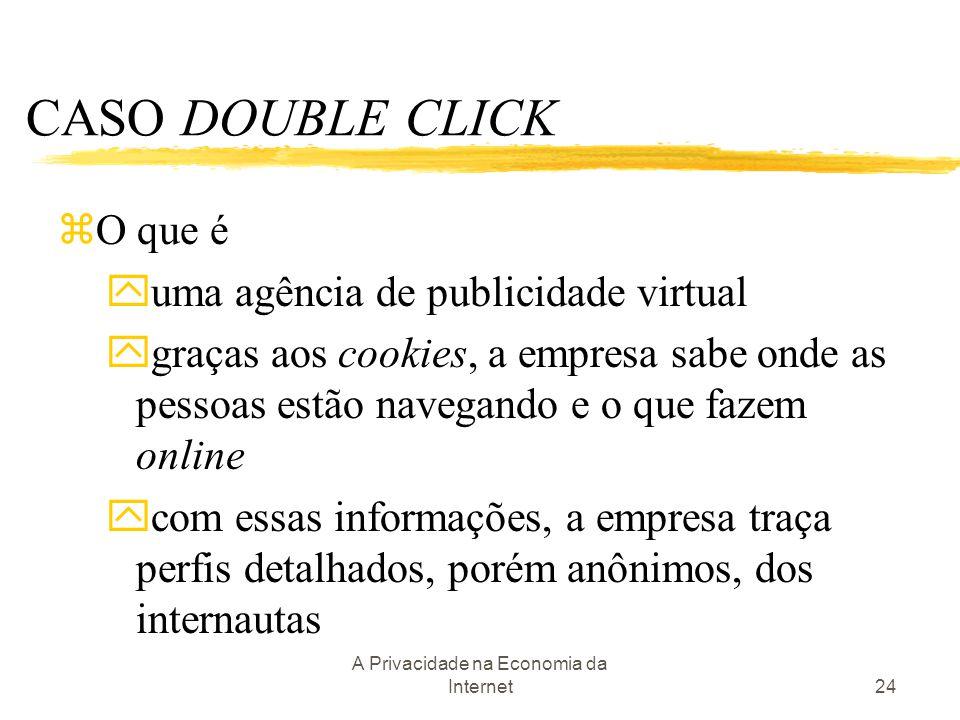 A Privacidade na Economia da Internet24 CASO DOUBLE CLICK zO que é yuma agência de publicidade virtual ygraças aos cookies, a empresa sabe onde as pes