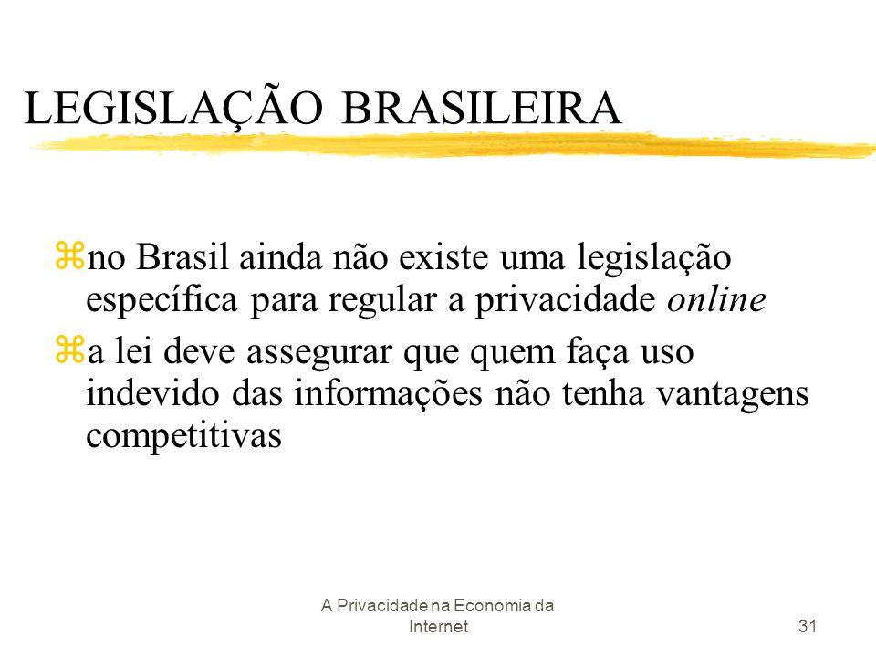 A Privacidade na Economia da Internet31 LEGISLAÇÃO BRASILEIRA zno Brasil ainda não existe uma legislação específica para regular a privacidade online