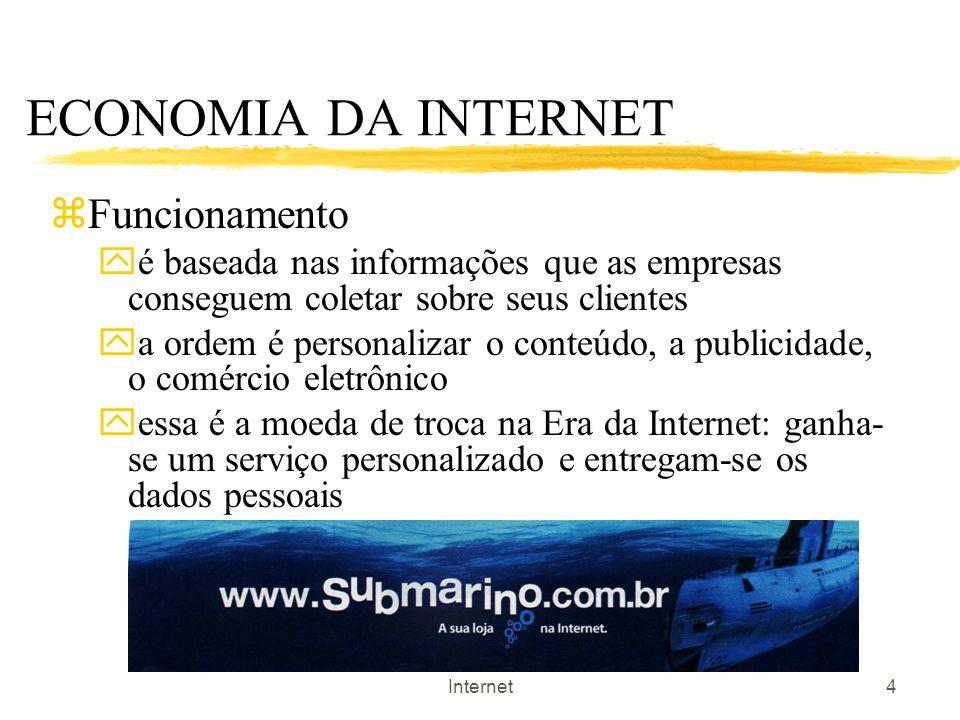 A Privacidade na Economia da Internet4 ECONOMIA DA INTERNET zFuncionamento yé baseada nas informações que as empresas conseguem coletar sobre seus cli