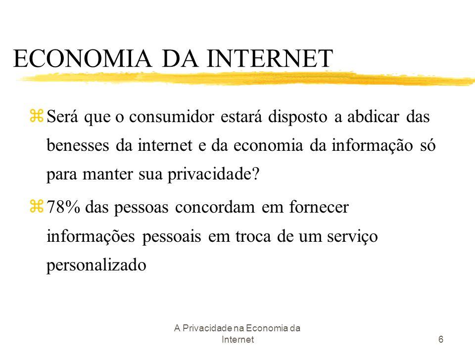 A Privacidade na Economia da Internet6 zSerá que o consumidor estará disposto a abdicar das benesses da internet e da economia da informação só para m