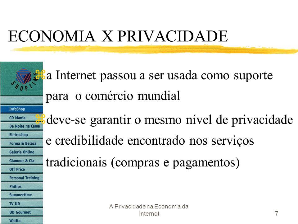 A Privacidade na Economia da Internet7 ECONOMIA X PRIVACIDADE za Internet passou a ser usada como suporte para o comércio mundial zdeve-se garantir o