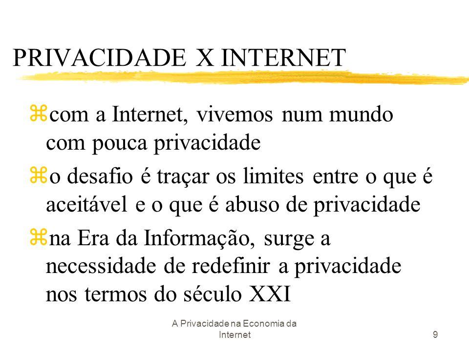 A Privacidade na Economia da Internet9 zcom a Internet, vivemos num mundo com pouca privacidade zo desafio é traçar os limites entre o que é aceitável