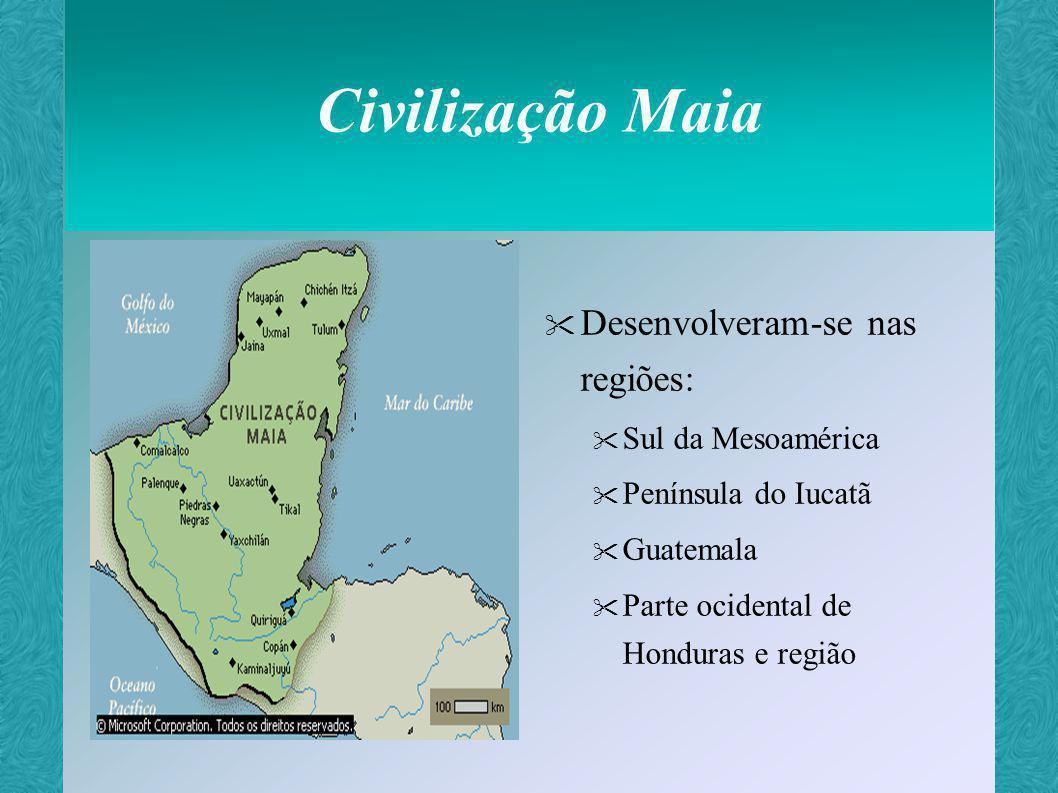 Civilização Maia Originária dos EUA Surgiu entre os séculos II e IX Não possuíam centralização política Organizavam-se em cidades-estado autônomas