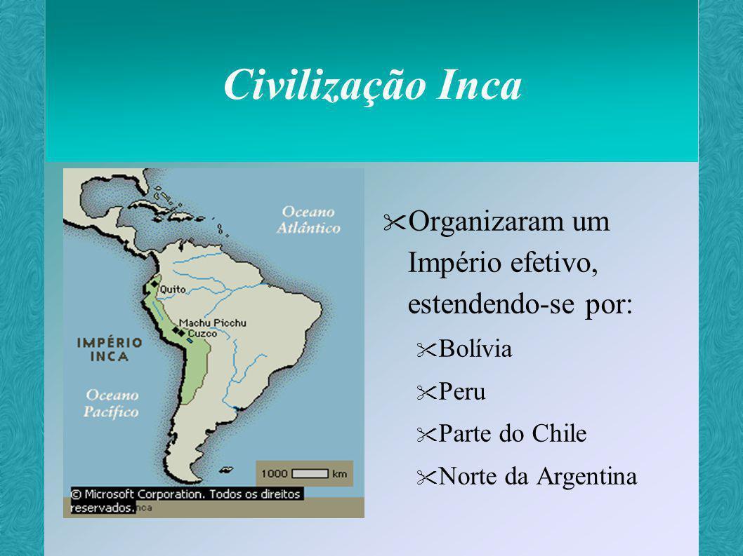 Império Inca Cada nível administrativo subordinava-se ao outro e todos submetiam-se ao imperador (o Inca) Chamado de o país das quatro partes Tinha por capital a cidade de Cuzco – umbigo do mundo