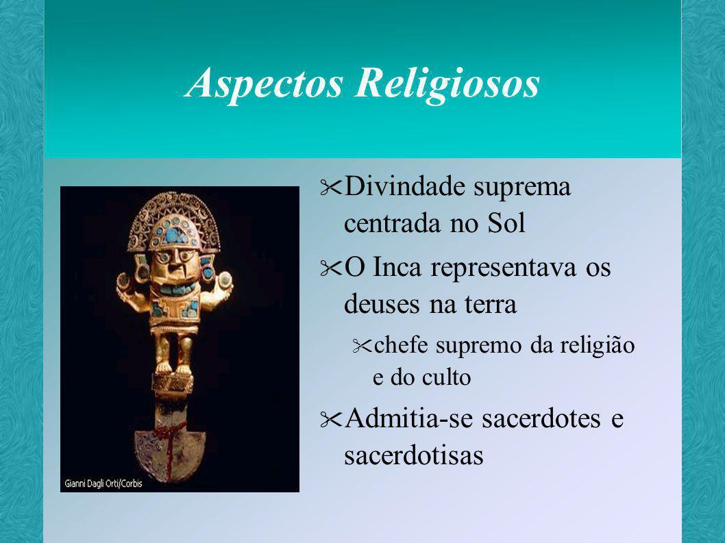 Aspectos Religiosos Acreditava-se: Na existência de Céu (janan pacha) e Inferno (ukhu pacha) Que os objetos tinham poder espiritual Huaca – caixa que continha a força cósmica do universo