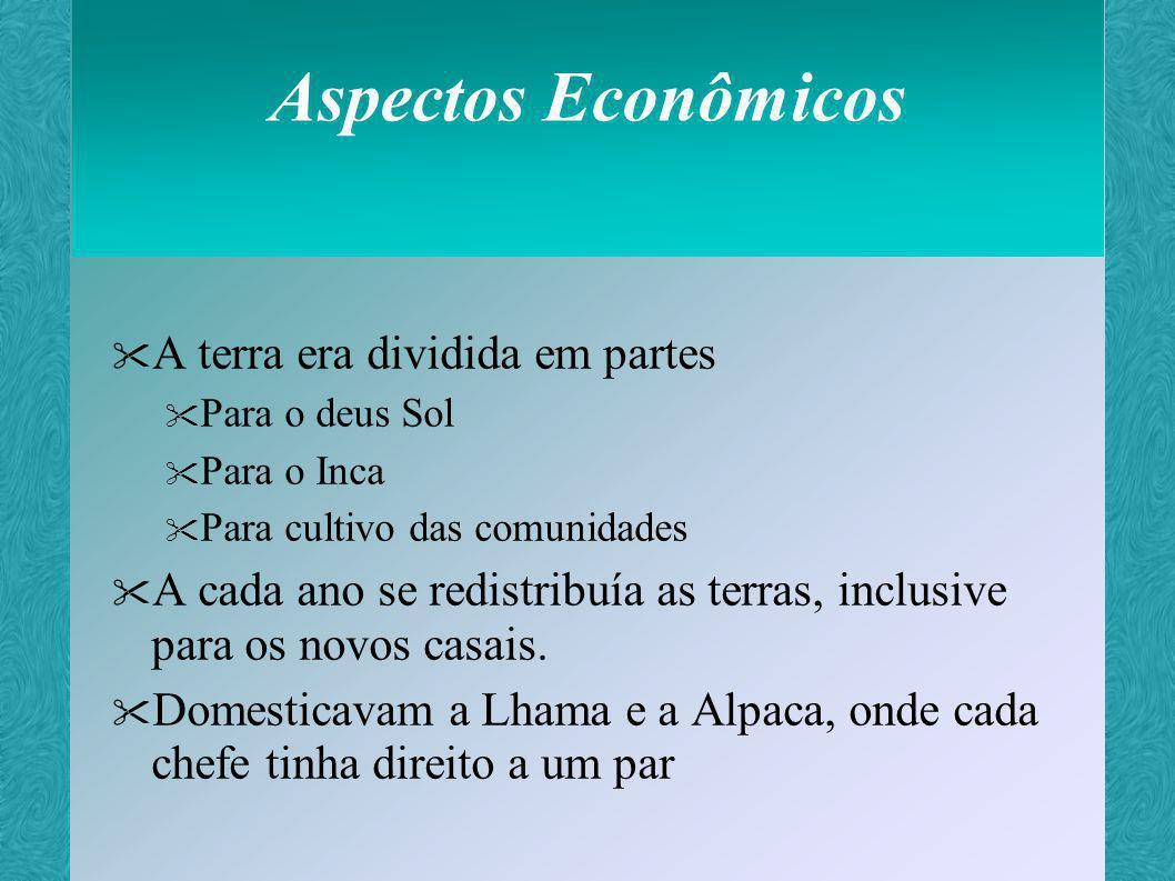 Aspectos Econômicos tributação Cultivo nas terras Do Inca Do culto Trabalho nas minas Fabricação de vestimentas