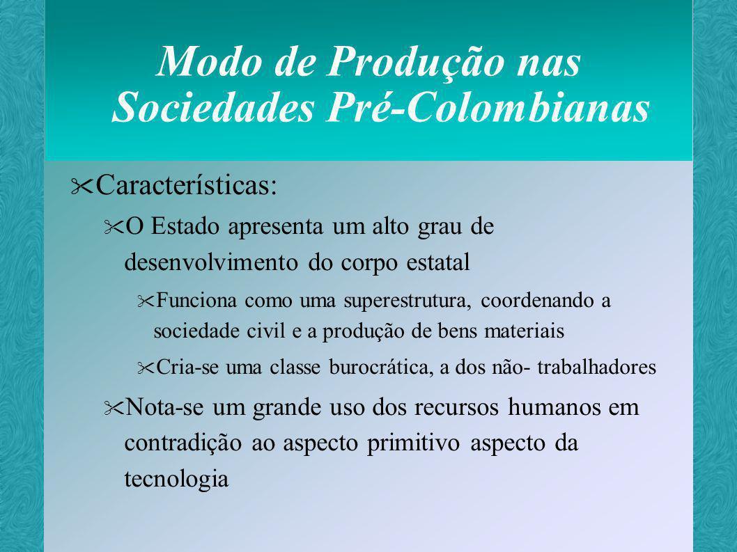 Modo de Produção nas Sociedades Pré-Colombianas Características: A sociedade civil possui um aspecto subdesenvolvido, incapaz de manter-se sem o gerenciamento estatal Há o aparecimento de um comércio, porém fraco se comparado à abrangência da agricultura