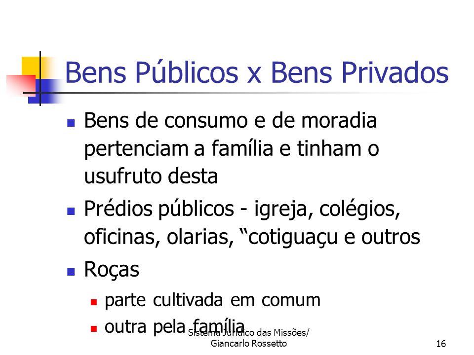 Sistema Jurídico das Missões/ Giancarlo Rossetto16 Bens Públicos x Bens Privados Bens de consumo e de moradia pertenciam a família e tinham o usufruto