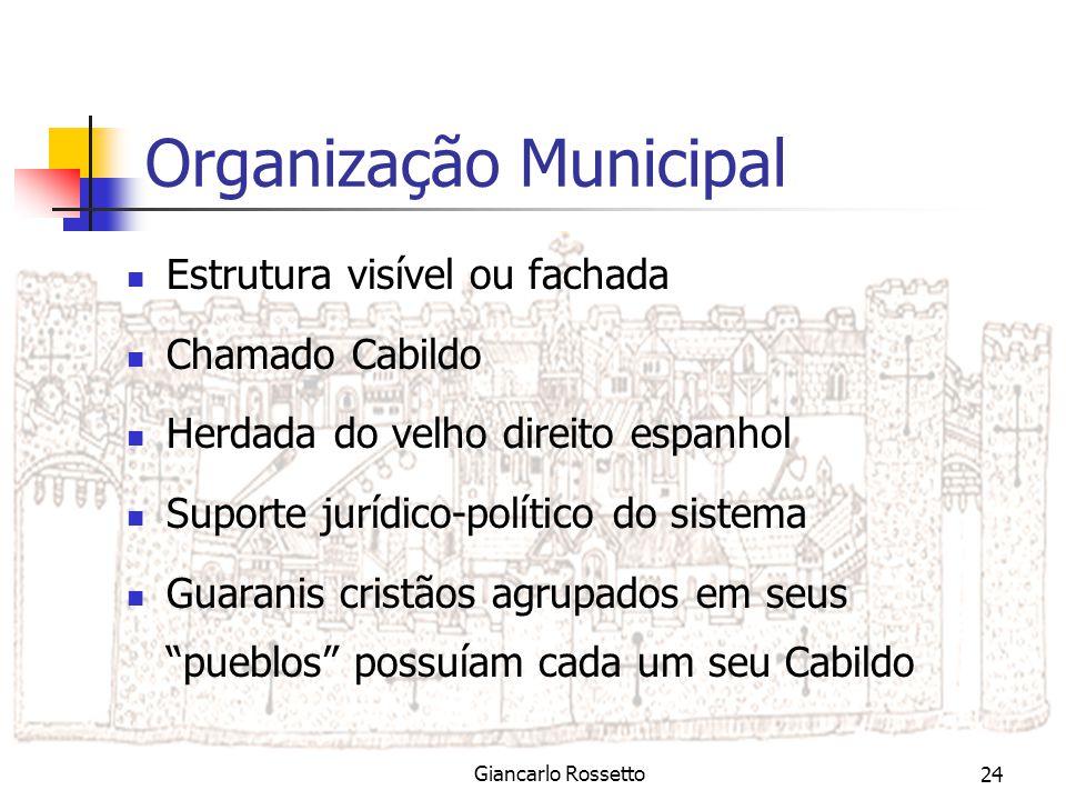 Sistema Jurídico das Missões/ Giancarlo Rossetto24 Organização Municipal Estrutura visível ou fachada Chamado Cabildo Herdada do velho direito espanho