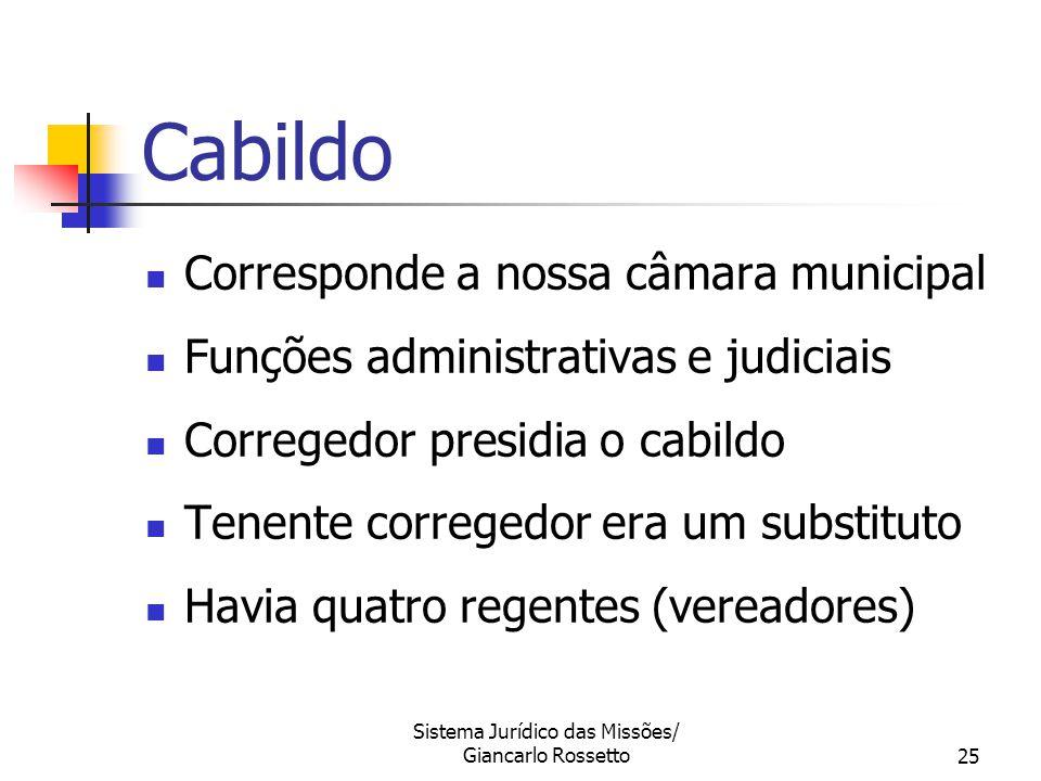 Sistema Jurídico das Missões/ Giancarlo Rossetto25 Cabildo Corresponde a nossa câmara municipal Funções administrativas e judiciais Corregedor presidi