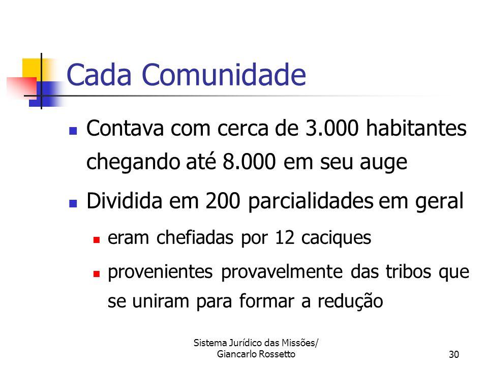 Sistema Jurídico das Missões/ Giancarlo Rossetto30 Cada Comunidade Contava com cerca de 3.000 habitantes chegando até 8.000 em seu auge Dividida em 20