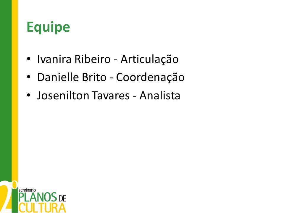 Equipe Ivanira Ribeiro - Articulação Danielle Brito - Coordenação Josenilton Tavares - Analista