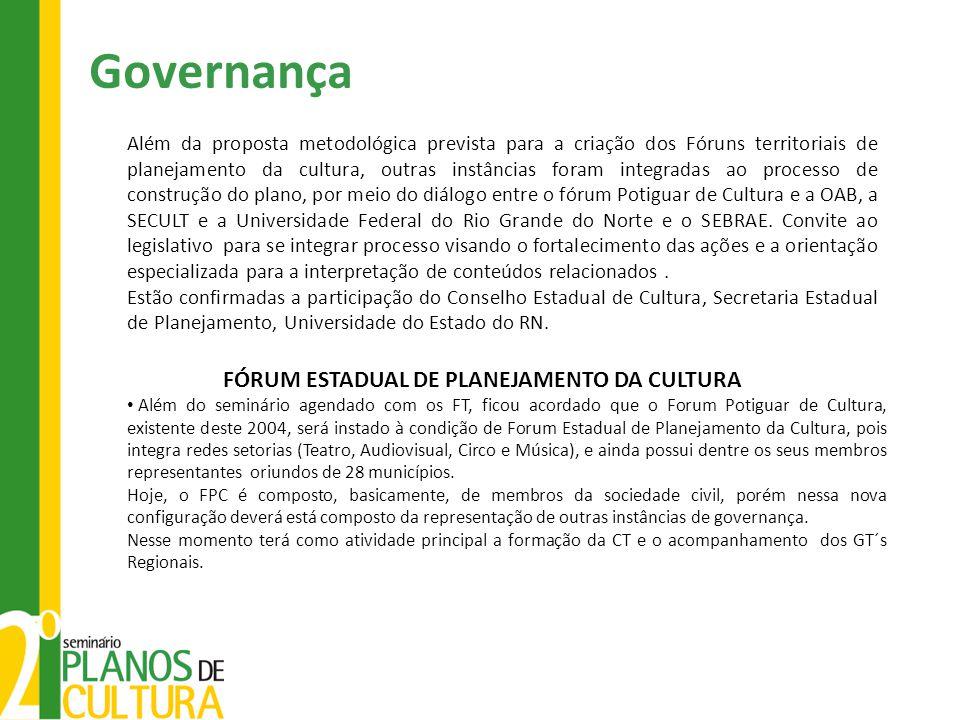 Governança Além da proposta metodológica prevista para a criação dos Fóruns territoriais de planejamento da cultura, outras instâncias foram integrada