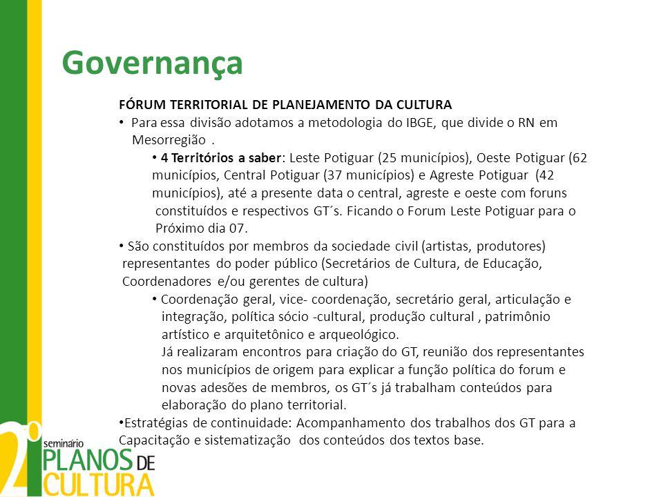 Governança FÓRUM TERRITORIAL DE PLANEJAMENTO DA CULTURA Para essa divisão adotamos a metodologia do IBGE, que divide o RN em Mesorregião. 4 Território
