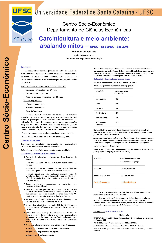 Centro Sócio-Econômico Departamento de Ciências Econômicas Centro Sócio-Econômico Carcinicultura e meio ambiente: abalando mitos – UFSC - 5a SEPEX – Set.