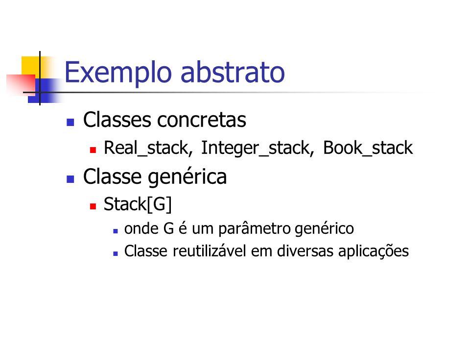 Exemplo abstrato Classes concretas Real_stack, Integer_stack, Book_stack Classe genérica Stack[G] onde G é um parâmetro genérico Classe reutilizável e