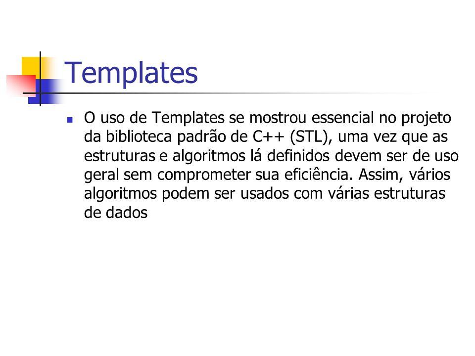 Templates O uso de Templates se mostrou essencial no projeto da biblioteca padrão de C++ (STL), uma vez que as estruturas e algoritmos lá definidos de