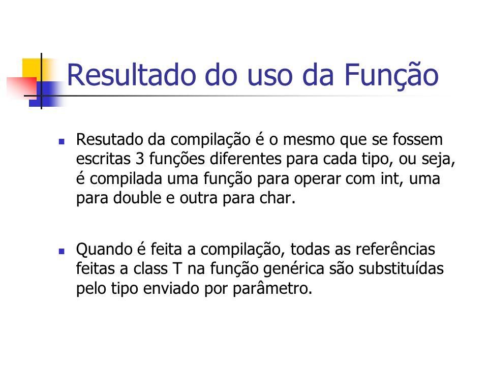 Resultado do uso da Função Resutado da compilação é o mesmo que se fossem escritas 3 funções diferentes para cada tipo, ou seja, é compilada uma funçã