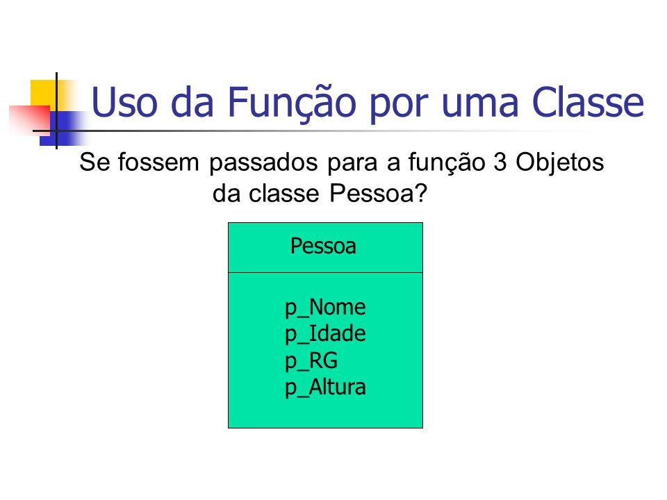Uso da Função por uma Classe Pessoa p_Nome p_Idade p_RG p_Altura Se fossem passados para a função 3 Objetos da classe Pessoa?