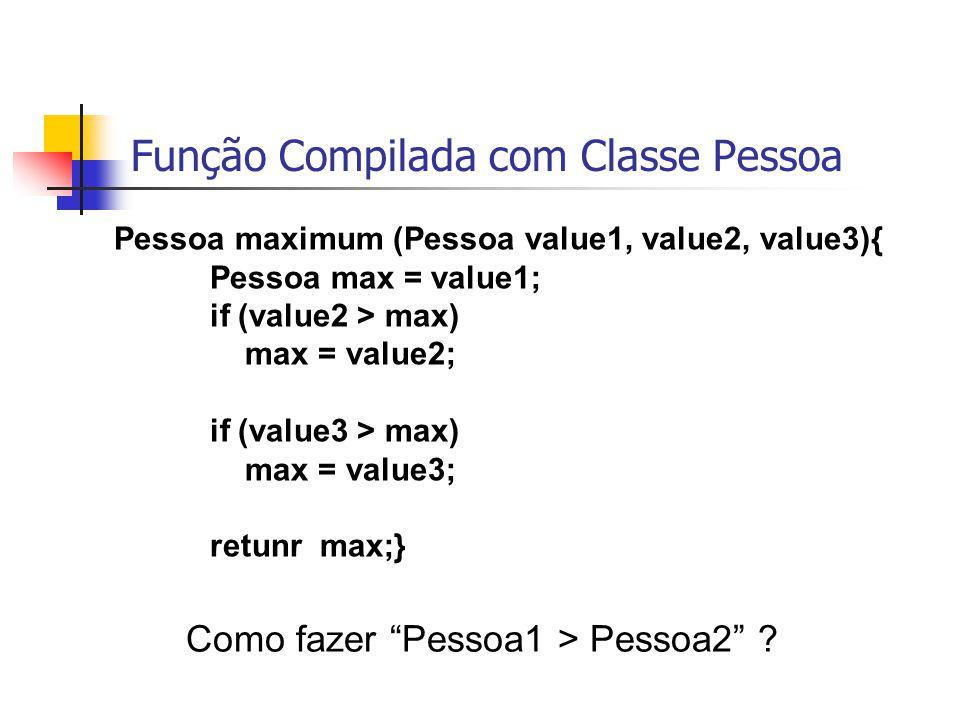 Função Compilada com Classe Pessoa Pessoa maximum (Pessoa value1, value2, value3){ Pessoa max = value1; if (value2 > max) max = value2; if (value3 > m