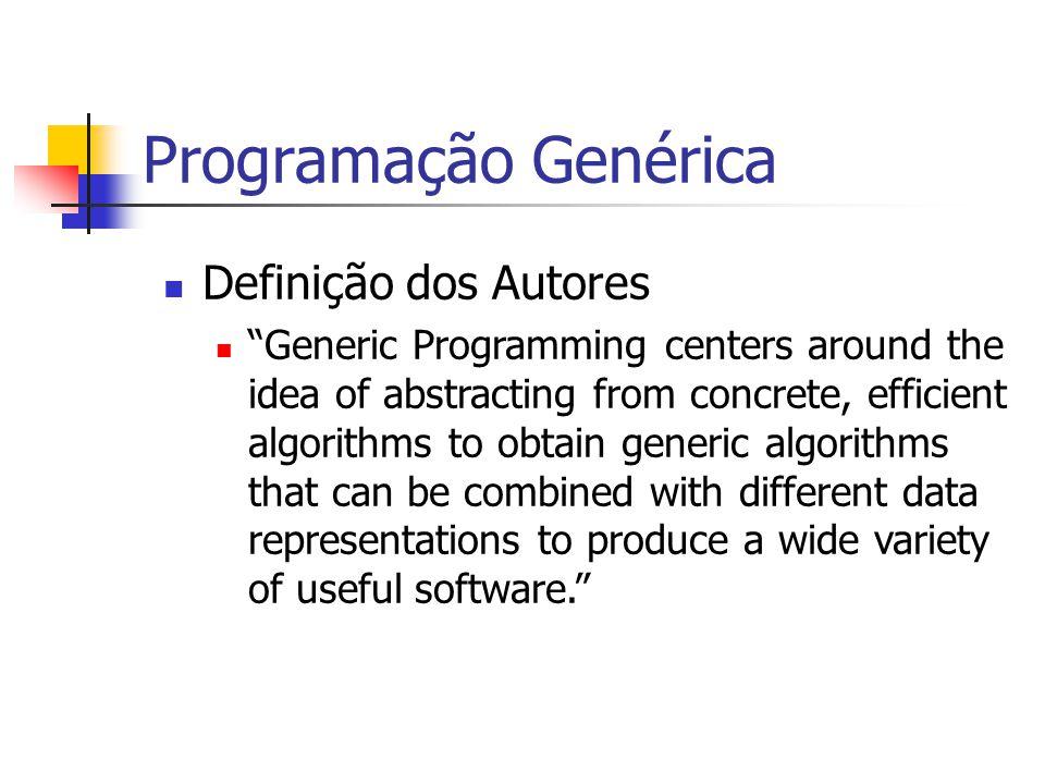 Programação Genérica Outra definição Programação Genérica pode ser definida como programação com conceitos , onde um conceito é definido como uma família de abstrações que são relacionadas por um conjunto comum de requisitos.