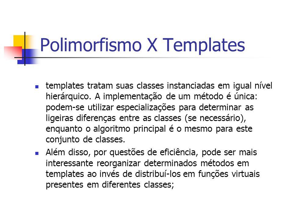 Polimorfismo X Templates templates tratam suas classes instanciadas em igual nível hierárquico. A implementação de um método é única: podem-se utiliza