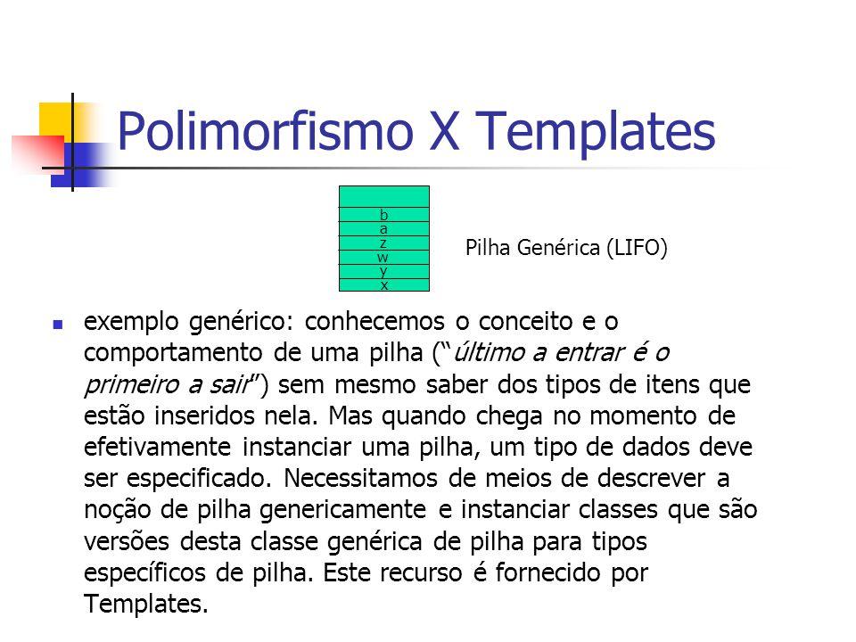 """Polimorfismo X Templates exemplo genérico: conhecemos o conceito e o comportamento de uma pilha (""""último a entrar é o primeiro a sair"""") sem mesmo sabe"""