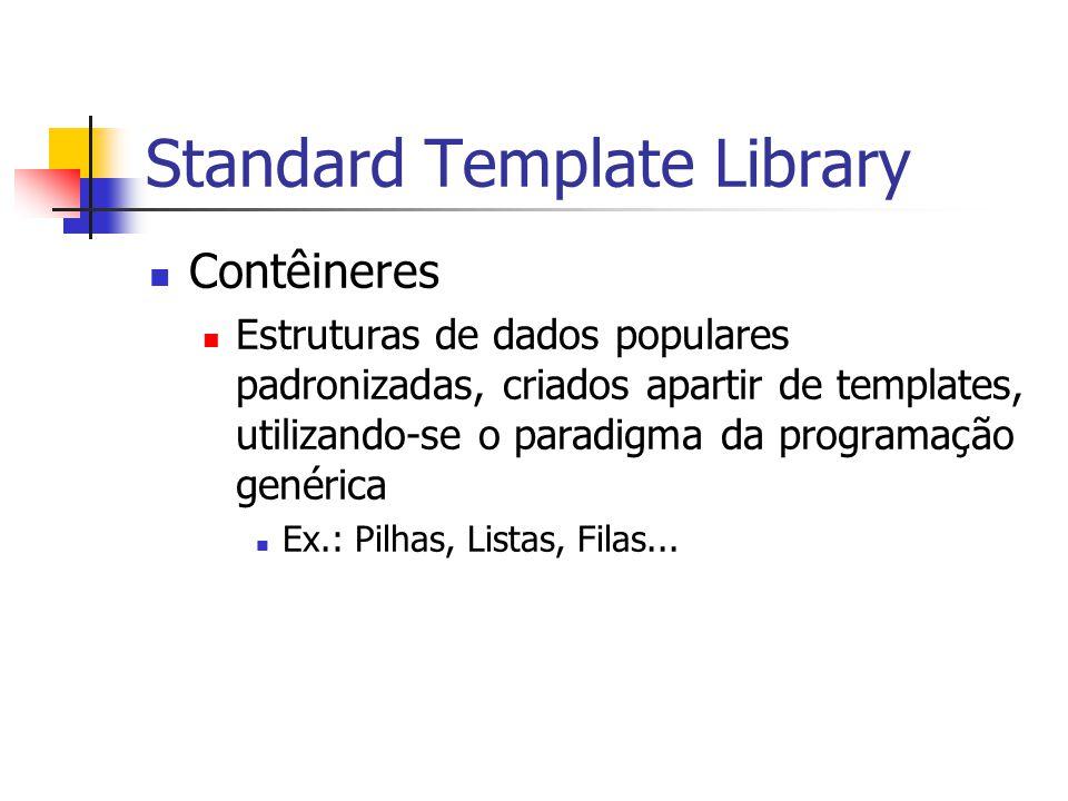 Standard Template Library Contêineres Estruturas de dados populares padronizadas, criados apartir de templates, utilizando-se o paradigma da programaç