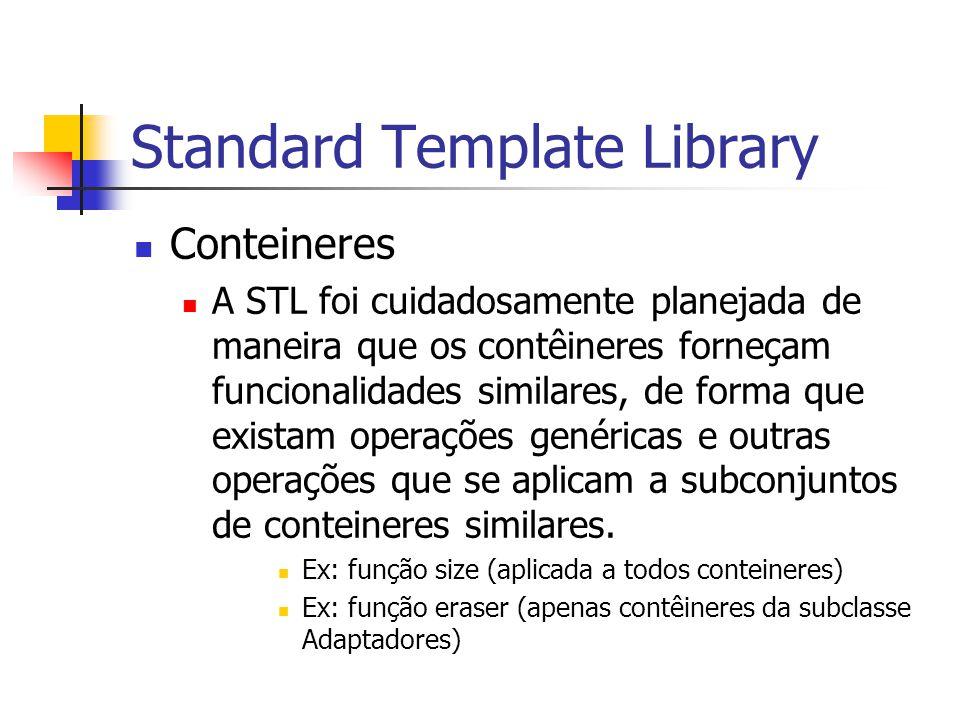 Standard Template Library Conteineres A STL foi cuidadosamente planejada de maneira que os contêineres forneçam funcionalidades similares, de forma qu