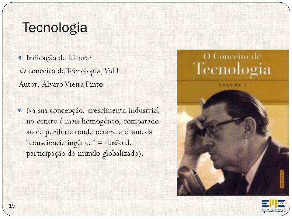 Indicação de leitura: O conceito de Tecnologia, Vol I Autor: Álvaro Vieira Pinto Na sua concepção, crescimento industrial no centro é mais homogêneo,
