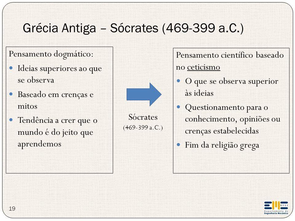 Grécia Antiga – Sócrates (469-399 a.C.) 19 Pensamento dogmático: Ideias superiores ao que se observa Baseado em crenças e mitos Tendência a crer que o