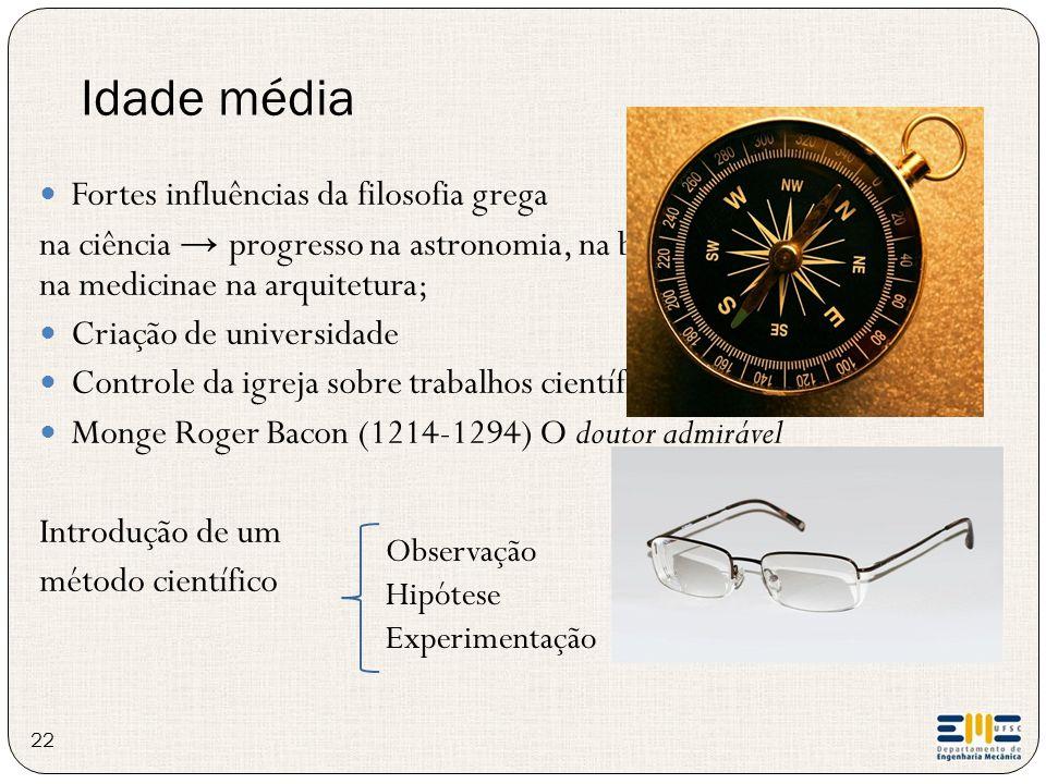 Idade média 22 Observação Hipótese Experimentação Fortes influências da filosofia grega na ciência → progresso na astronomia, na biologia, na navegaçã