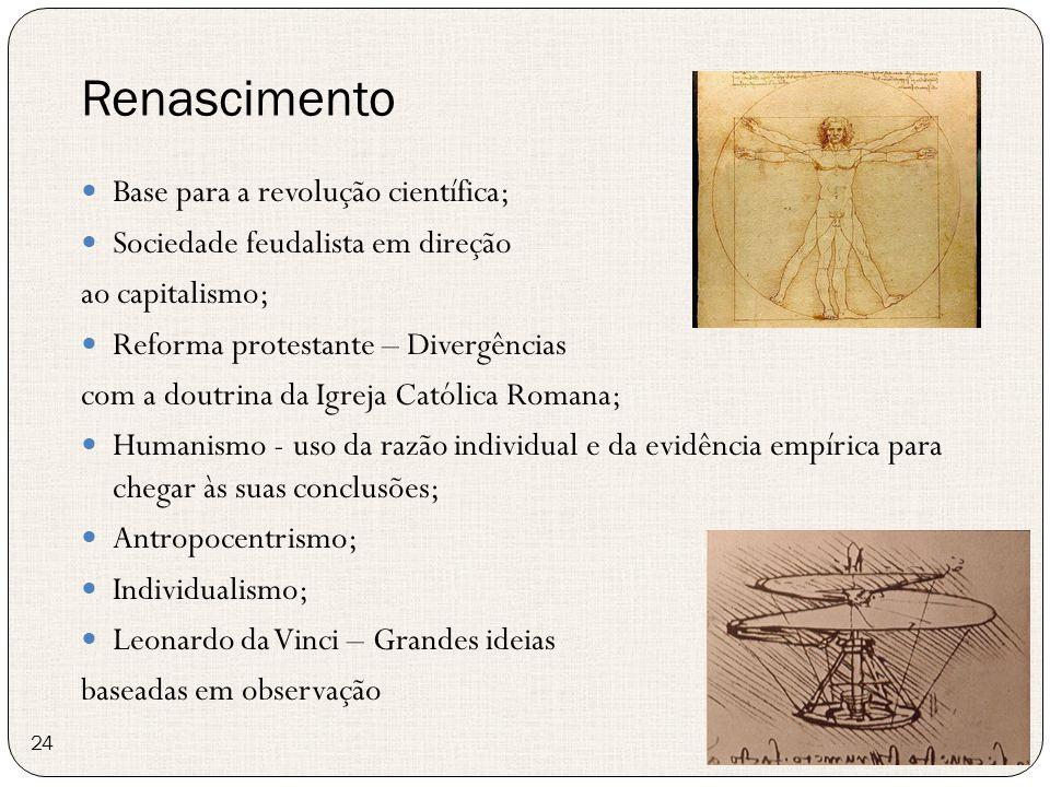 Renascimento 24 Base para a revolução científica; Sociedade feudalista em direção ao capitalismo; Reforma protestante – Divergências com a doutrina da