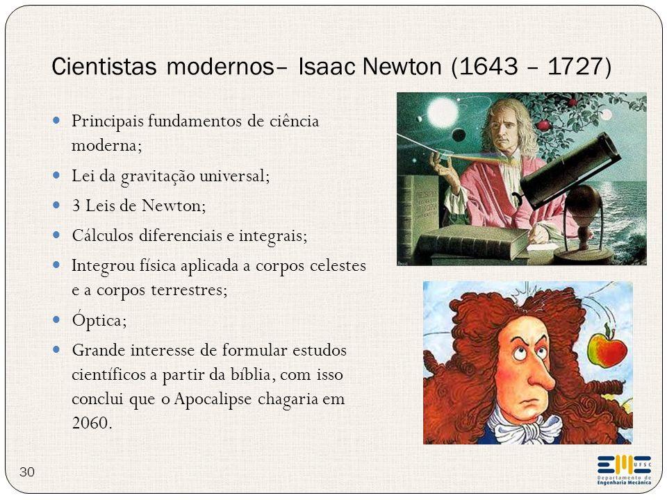 30 Principais fundamentos de ciência moderna; Lei da gravitação universal; 3 Leis de Newton; Cálculos diferenciais e integrais; Integrou física aplica