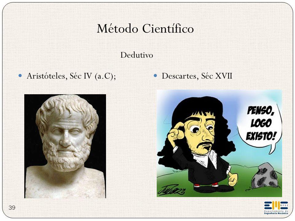 Aristóteles, Séc IV (a.C); Descartes, Séc XVII Método Científico Dedutivo 39