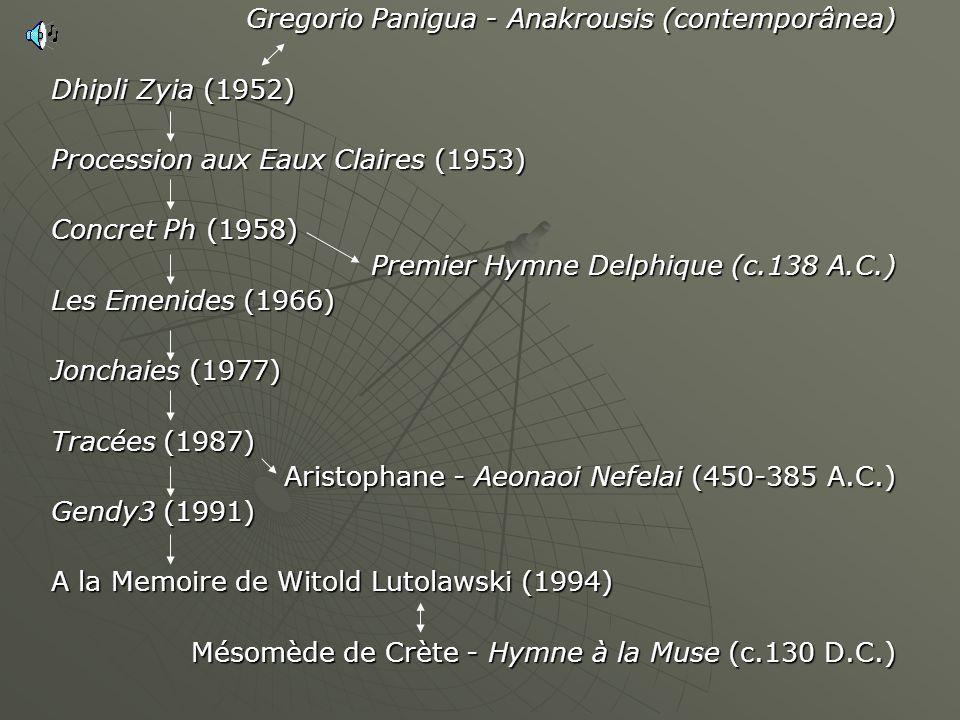 Gregorio Panigua - Anakrousis (contemporânea) Dhipli Zyia (1952) Procession aux Eaux Claires (1953) Concret Ph (1958) Premier Hymne Delphique (c.138 A.C.) Les Emenides (1966) Jonchaies (1977) Tracées (1987) Aristophane - Aeonaoi Nefelai (450-385 A.C.) Gendy3 (1991) A la Memoire de Witold Lutolawski (1994) Mésomède de Crète - Hymne à la Muse (c.130 D.C.)