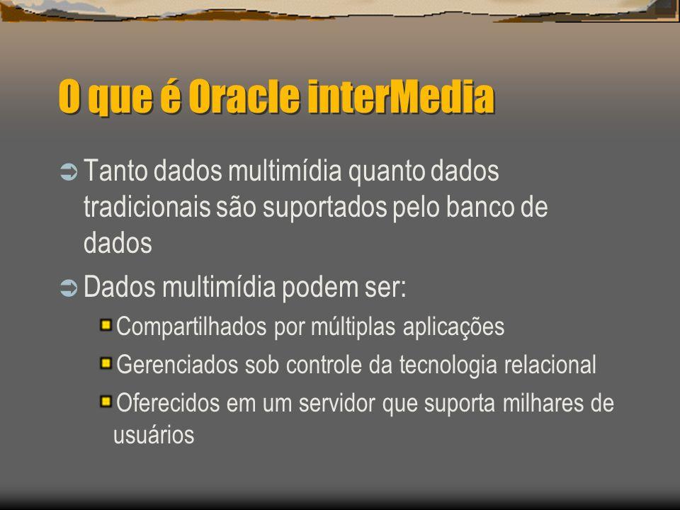O que é Oracle interMedia  Tanto dados multimídia quanto dados tradicionais são suportados pelo banco de dados  Dados multimídia podem ser: Compartilhados por múltiplas aplicações Gerenciados sob controle da tecnologia relacional Oferecidos em um servidor que suporta milhares de usuários