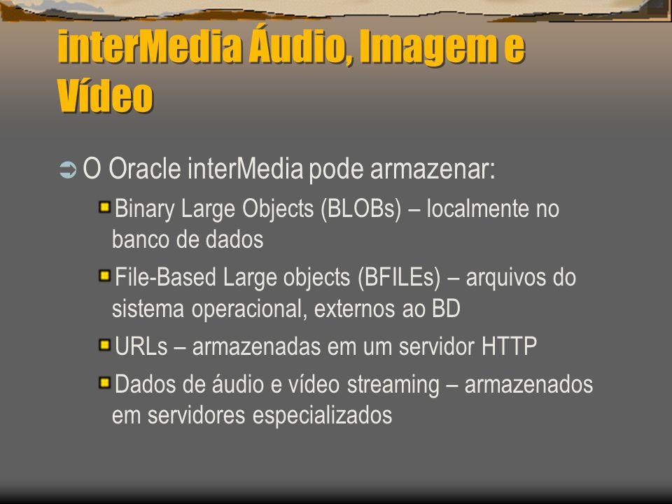interMedia Áudio, Imagem e Vídeo  O Oracle interMedia pode armazenar: Binary Large Objects (BLOBs) – localmente no banco de dados File-Based Large objects (BFILEs) – arquivos do sistema operacional, externos ao BD URLs – armazenadas em um servidor HTTP Dados de áudio e vídeo streaming – armazenados em servidores especializados